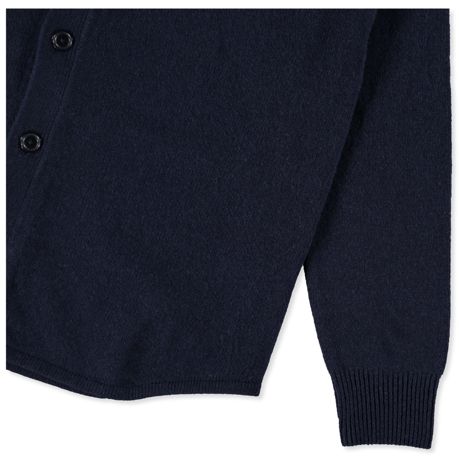 Shirt Collar Wool Cardigan Navy