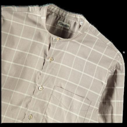 Korean Collar Windowpane Shirt