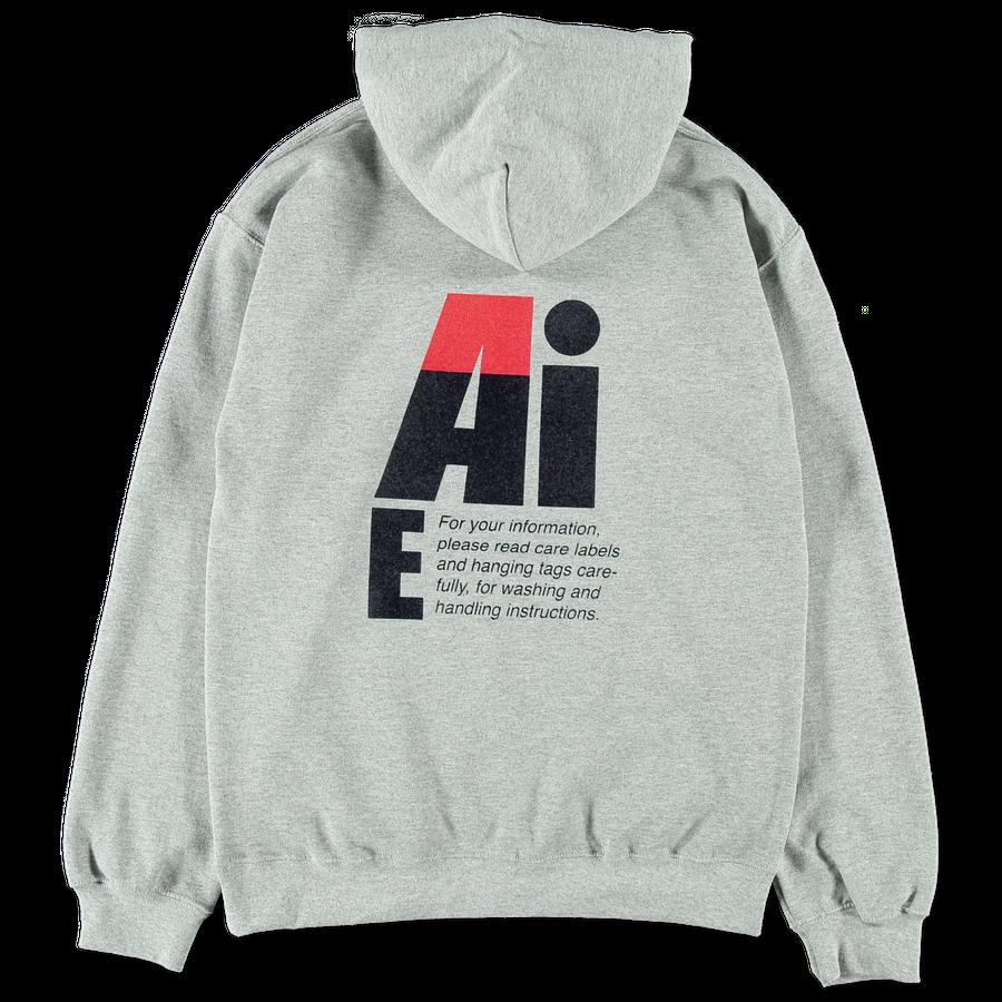 Big AiE Logo Printed Hoodie Grey