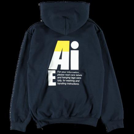 Big AiE Logo Printed Hoodie Navy