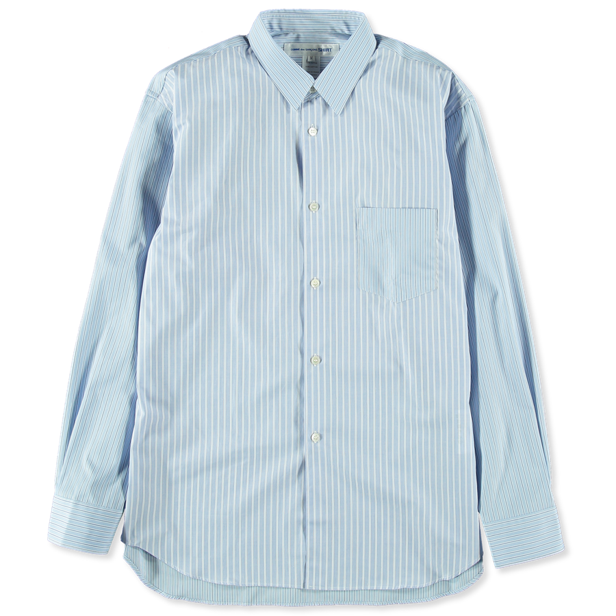 Mix Cloth Stripe Poplin Shirt