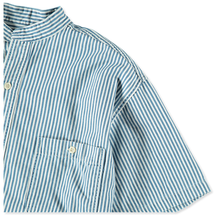 Stand Collar Hickory Stripe S/S Shirt