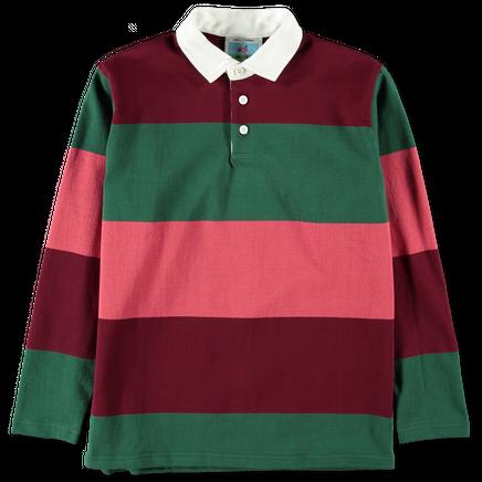 Burgundy/ Nantucket Red/Green Horizontal Stripe Ru