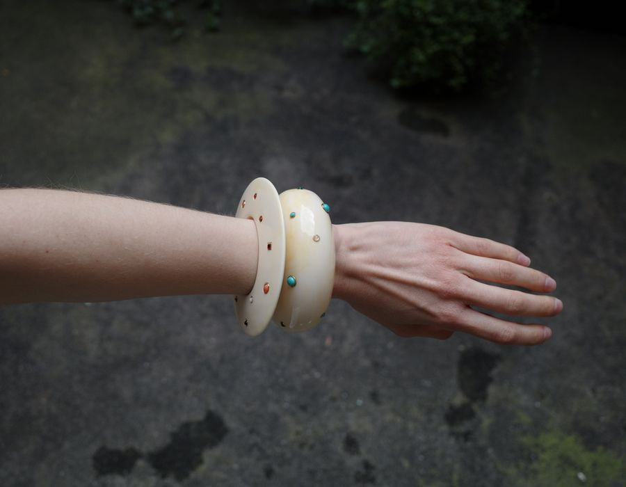 Arc Cuff in Dotted Cream