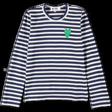 Comme des Garçons PLAY Striped Green Heart L/S - Navy/White