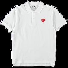Comme des Garçons PLAY Red Heart Polo Shirt - White