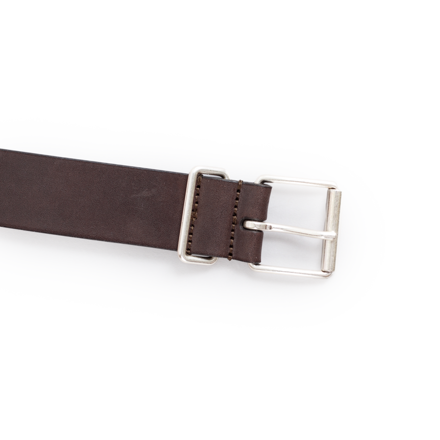 Plain Leather Chrome B Belt