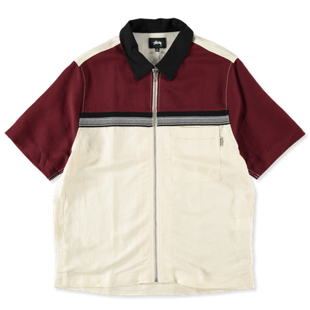 Color Block Zip Work Shirt