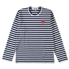 Comme des Garçons PLAY Striped Red Heart L/S - Navy/White