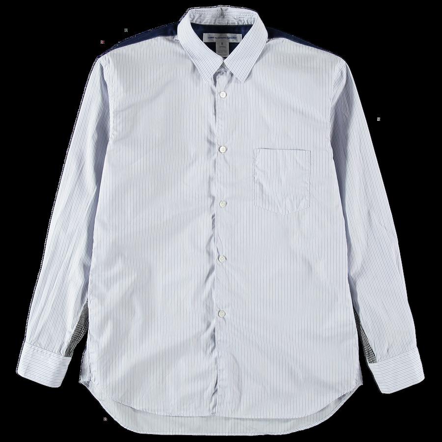 Washed Stripe Fabric Mix Shirt