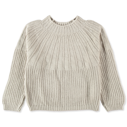 Ribbed Yoke Easy Sweater