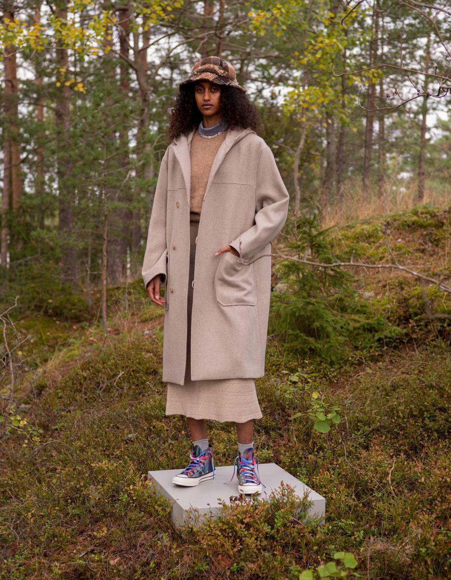 Light Melton Hooded Coat