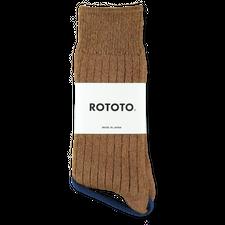 Rototo                                             Cotton Wool Rib Socks - Brown