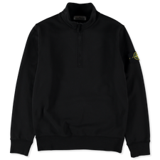 Stone Island Zip Neck Fleece Sweatshirt 741561951 V0029 - BLACK
