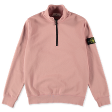 Stone Island Zip Neck Fleece Sweatshirt 741561951 V0086 - ROSE QUARTZ