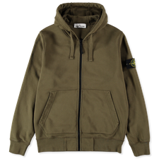 Stone Island Zip Hooded Fleece Sweatshirt 741564251  V0058 - OLIVE