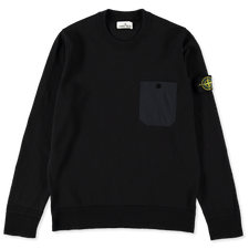 Stone Island Light Raw Cotton Pocket CN Knit 7415571B9  V0020 - NAVY BLUE