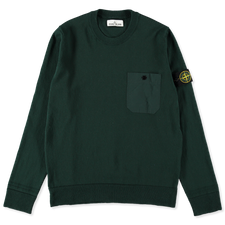 Stone Island Light Raw Cotton Pocket CN Knit 7415571B9 V0057 - PETROL