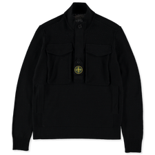 Stone Island Heavy Pocket Mercerized Cotton Sweater 7415542D4 V0029 - BLACK