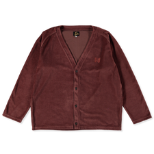 Needles V Neck Velour Cardigan - Brown