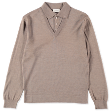 Lemaire Knitted V-Neck Polo Shirt - Grey Beige