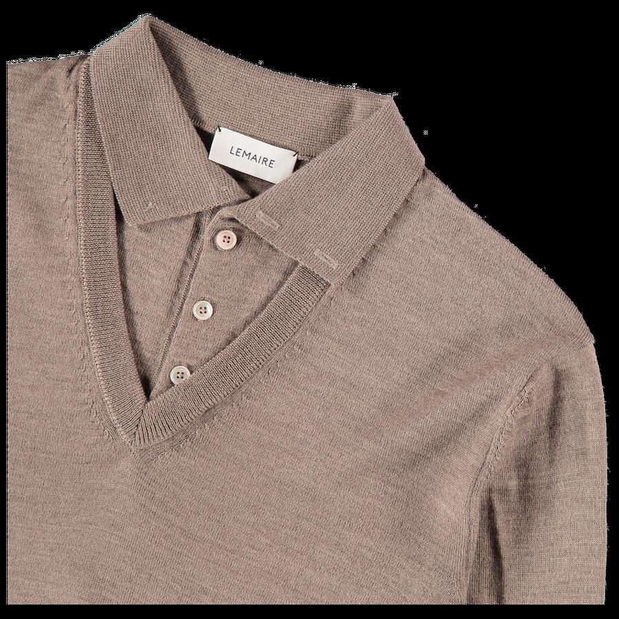 Knitted V-Neck Polo Shirt