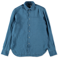 Nitty Gritty Washed Linen Chambray Shirt - Blue