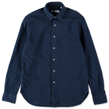 Nitty Gritty Washed Seersucker Shirt - Navy
