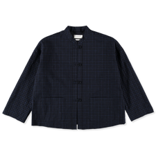 Toast                                              Check Cotton Easy Jacket - Navy