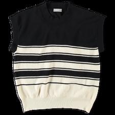 Margaret Howell Stripe Cap Sleeve Top - Black/Ecru