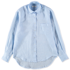 Nitty Gritty Boxy Linen Shirt - Light Blue