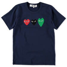 Comme des Garçons PLAY Womens Triple Heart T-Shirt - Navy