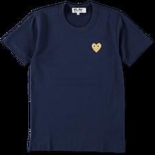 Comme des Garçons PLAY Womens Gold Heart T-Shirt - Navy