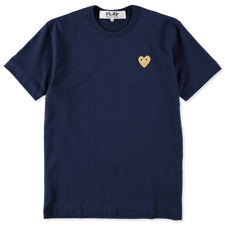 Comme des Garçons PLAY Mens Gold Heart T-Shirt - Navy