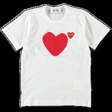 Comme des Garçons PLAY Womens Heart Logo T-Shirt - White