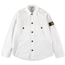 Stone Island Relaxed Fit Button Old Effect Overshirt 7415110WN V0001  - WHITE