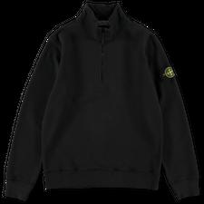 Stone Island Brushed Fleece Zip Neck Sweatshirt 751561920 V0029 - Black