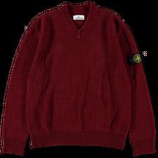 Stone Island Chenille V-Neck Sweater 7515554A5 V0015 - Brick Red