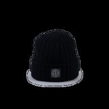 Stone Island Ribbed Geelong Patch Wool Hat 7515N24B5 V0029 - Black