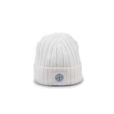Stone Island Ribbed Geelong Patch Wool Hat 7515N24B5 V009 - Natural