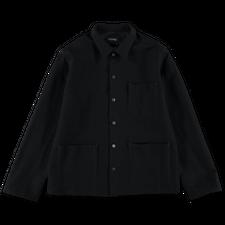 Bergfabel                                          Worker Wool/Linen Shirt - Black Navy