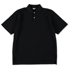 Nitty Gritty® Made in Japan                        Boxy Fit Pique Polo T-Shirt - Black