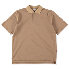 Nitty Gritty® Made in Japan                        Boxy Fit Pique Polo T-Shirt - Beige