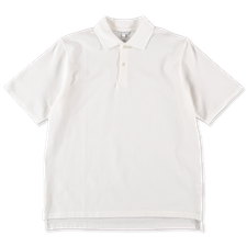 Nitty Gritty® Made in Japan                        Boxy Fit Pique Polo T-Shirt - Off White