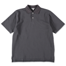 Nitty Gritty® Made in Japan                        Boxy Fit Pique Polo T-Shirt - Steel Grey