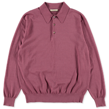 Camoshita Co/Cash Knit L/S Polo - Pink
