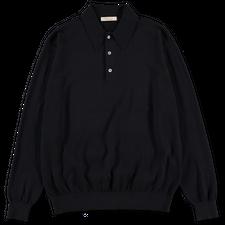 Camoshita Co/Cash Knit L/S Polo - Navy