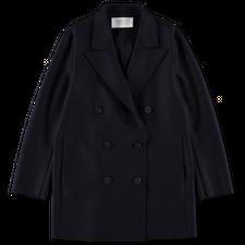 Harris Wharf London Slouchy Wool Peacoat - Navy