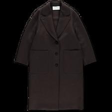 Harris Wharf London Pressed Wool Great Coat - Dark Brown