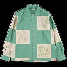Bode                                               Botanical Patchwork LS Shirt - Gren / White